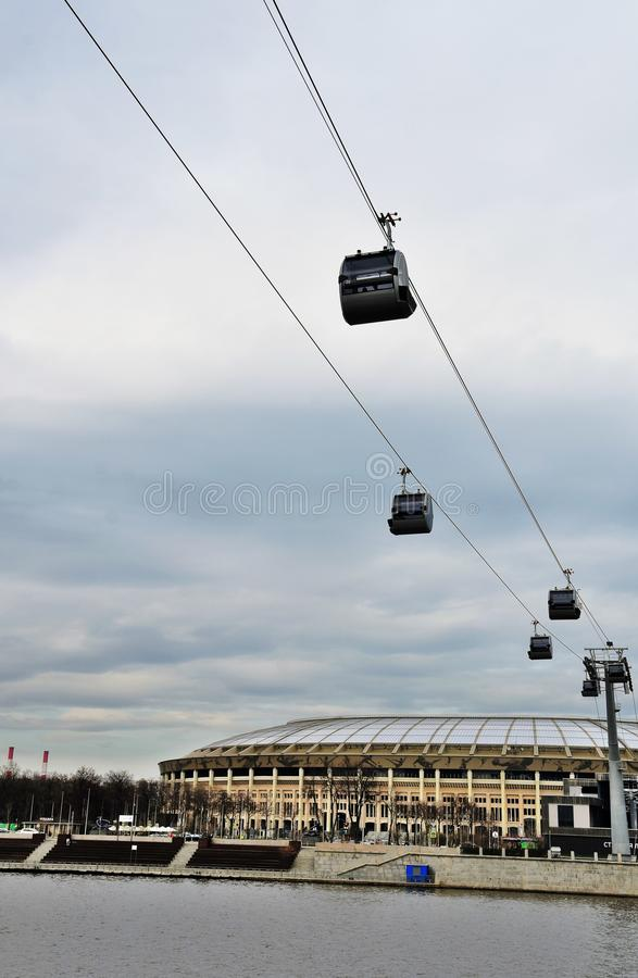 A new ropeway in Moscow which connects Luzhniki sportsa area and Vorobyovy hills. Open in 2018. Popular landmark. Color photo stock photography