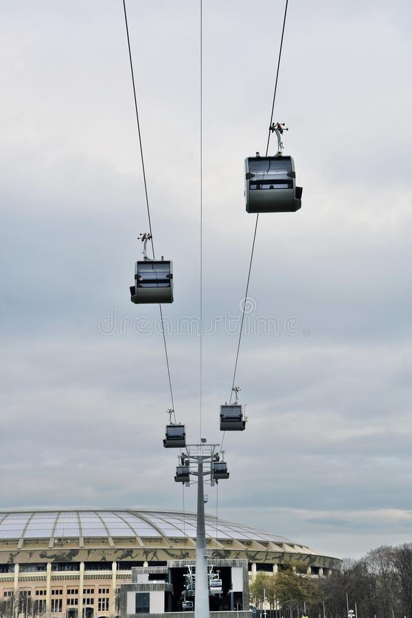 A new ropeway in Moscow which connects Luzhniki sportsa area and Vorobyovy hills. Open in 2018. Popular landmark. Color photo stock images