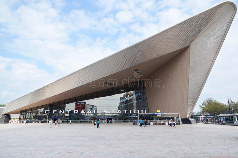 The new Rotterdam Centraal train station stock photography