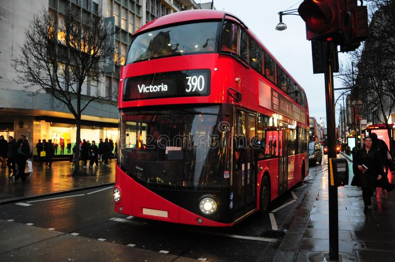 The New Routemaster double decker bus, on busy Oxford Street, Wi. Nter January 2018 in London royalty free stock photos