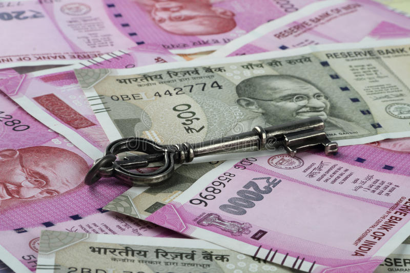 New Rs. 2000 Indian Rupees Currency with a Key. New Indian Rupees Currency with a Key royalty free stock images