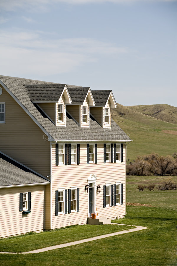 New rural american home. New house in rural Midwest royalty free stock images