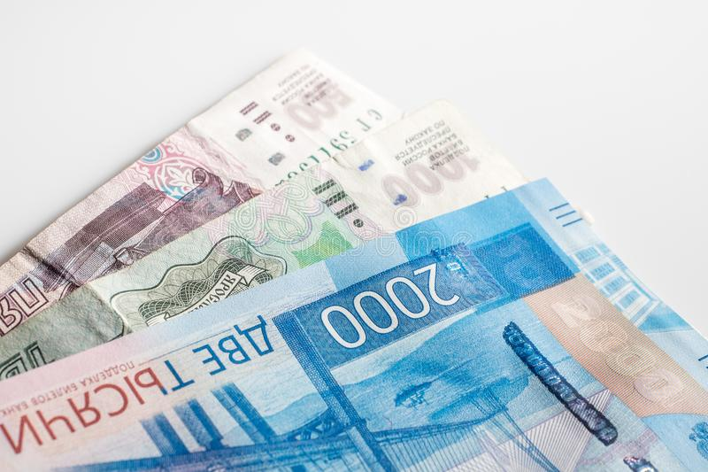 New Russian money banknotes 2000 rub and 1000 rubles, 500 rus. b royalty free stock photography