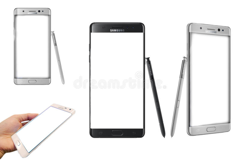 New Samsung Galaxy note 7 blank isolated. Curvy Samsung Galaxy Note 7 takes giant-screen Android phones to the next level stock photo