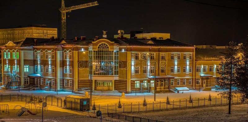 New school in Muravlenko stock photography
