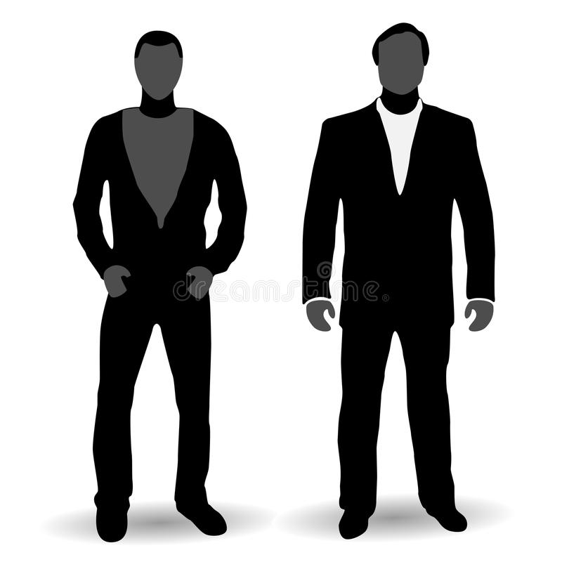 New-school And Old-school Businessmen, Silhouettes Royalty Free Stock Photography