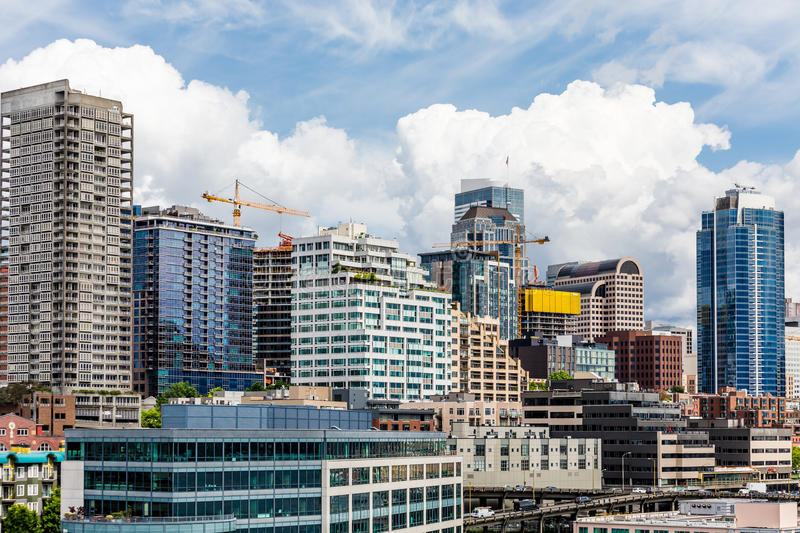 New Seattle Skyline. Modern Buildings in the skyline of Seattle royalty free stock image