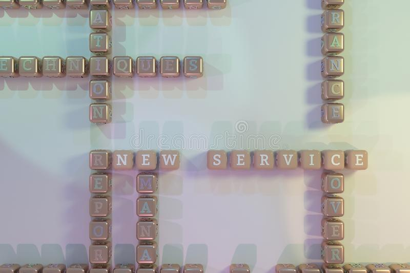 New Service, business keyword crossword. For web page, graphic design, texture or background. New Service, business keyword crossword. Graphic resource, texture royalty free stock photos