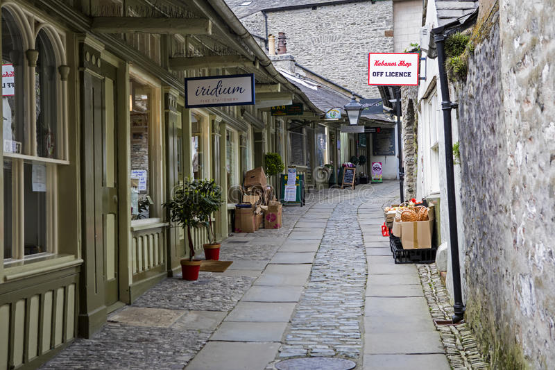 The New Shambles in Kendal. KENDAL, UK - APRIL 6TH 2017: The New Shambles in the historic town of Kendal in Cumbria, UK, on 6th April 2017 royalty free stock photos