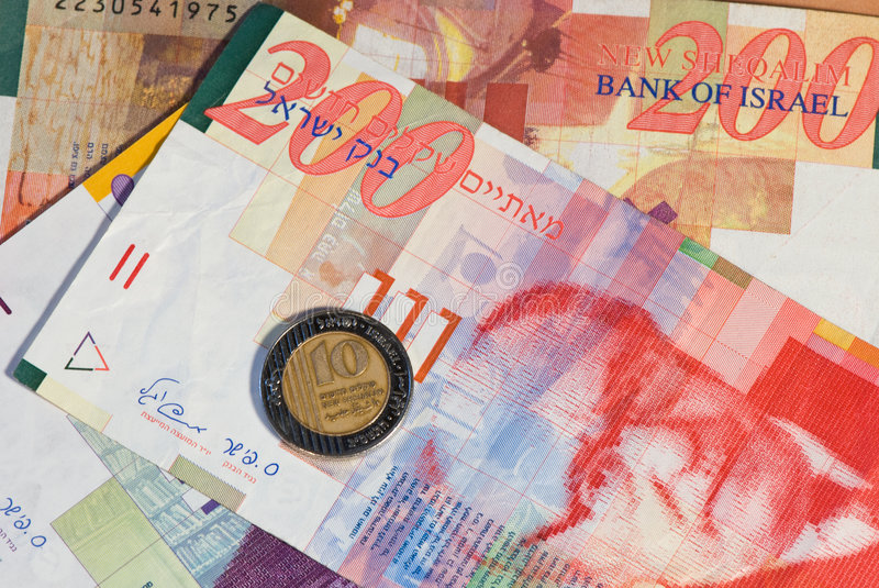 New sheqel. Banknotes and coin of Israel royalty free stock image