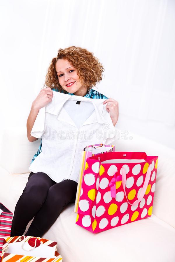 Download New shirt stock image. Image of bags, young, smile, living - 29031139