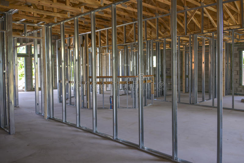 New single family home under construction. The interior of a new single family home under construction royalty free stock photos