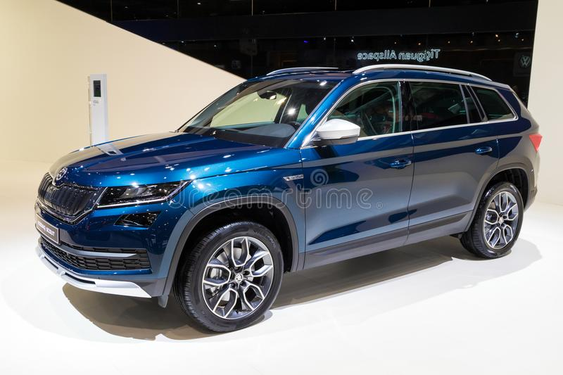 New Skoda Kodiaq Scout SUV car. BRUSSELS - JAN 10, 2018: New Skoda Kodiaq Scout SUV car shown at the Brussels Motor Show royalty free stock photo