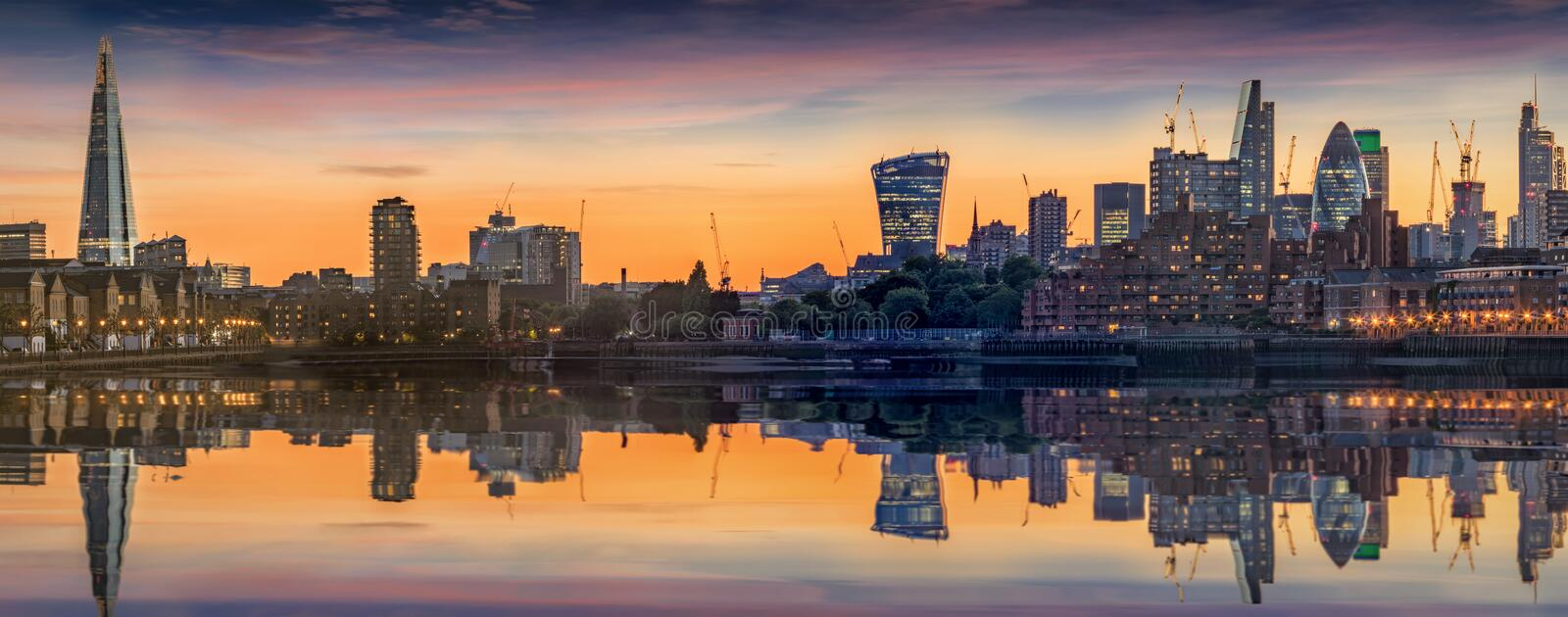 The new skyline of London from Canary Wharf stock image