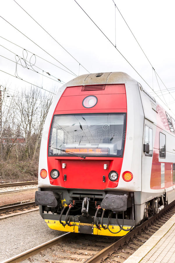 New Slovak red train on track royalty free stock photo