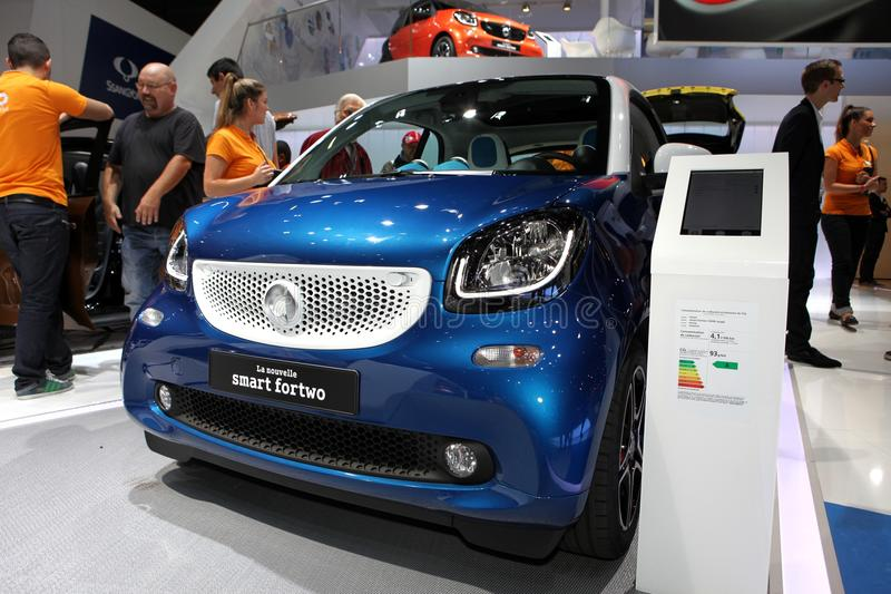 The new Smart Fortwo. Displayed at the 2014 Paris Motor Show stock image
