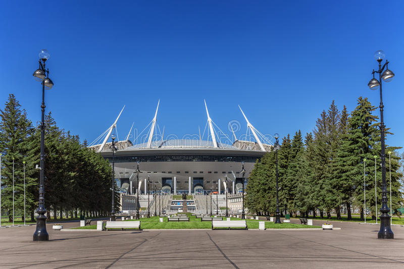 New soccer `Saint-Petersburg Arena` on Krestovsky island in St. Petersburg for the World Cup 2018 royalty free stock images