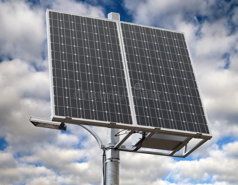 New solar panel over white. New solar panel on background of sky stock photos