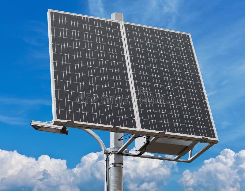 New solar panel over white. New solar panel on background of sky stock image