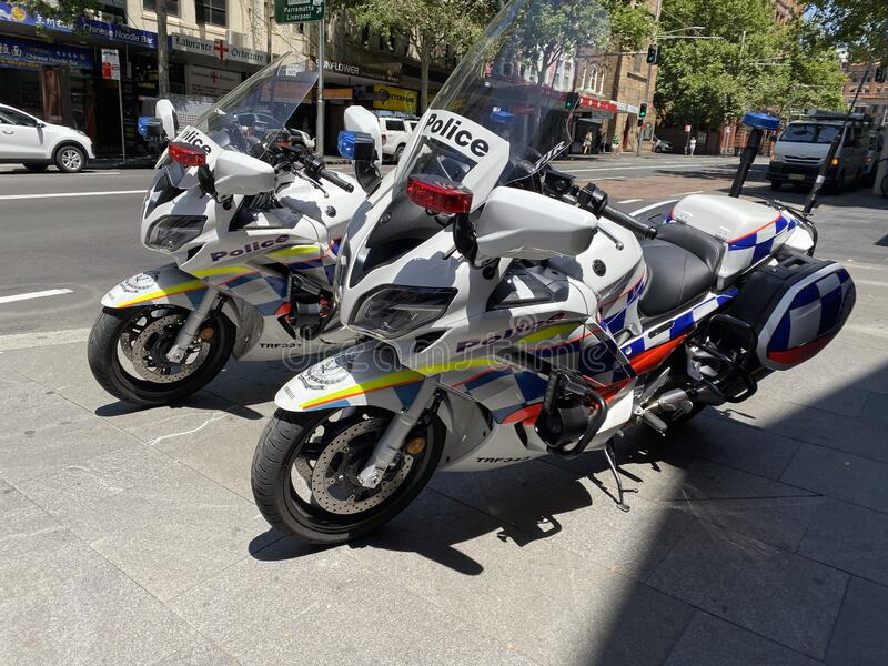 New South wales police motorcycle. stock photos