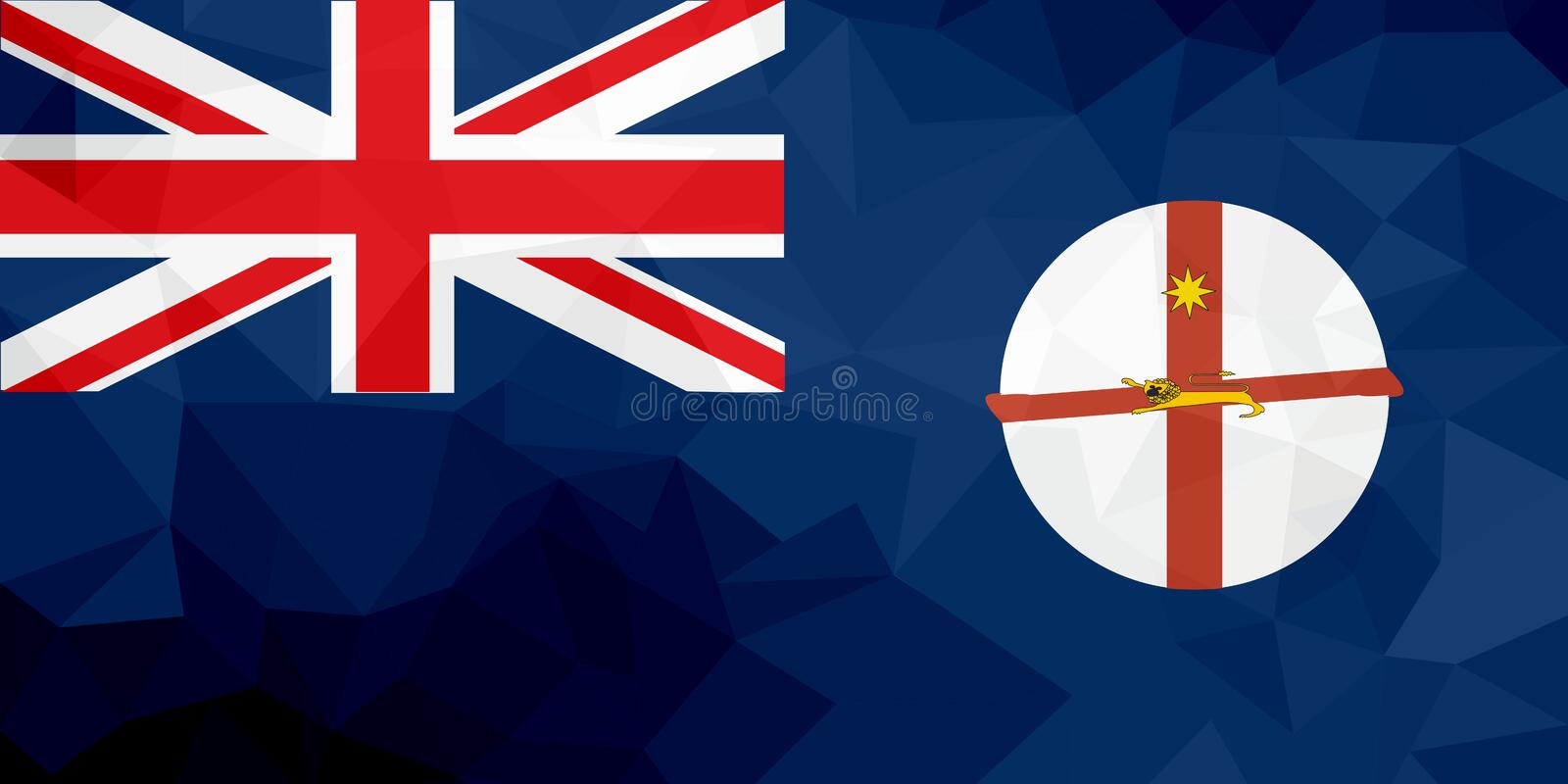 New South Wales polygonal flag. Mosaic modern background. Geometric design vector illustration