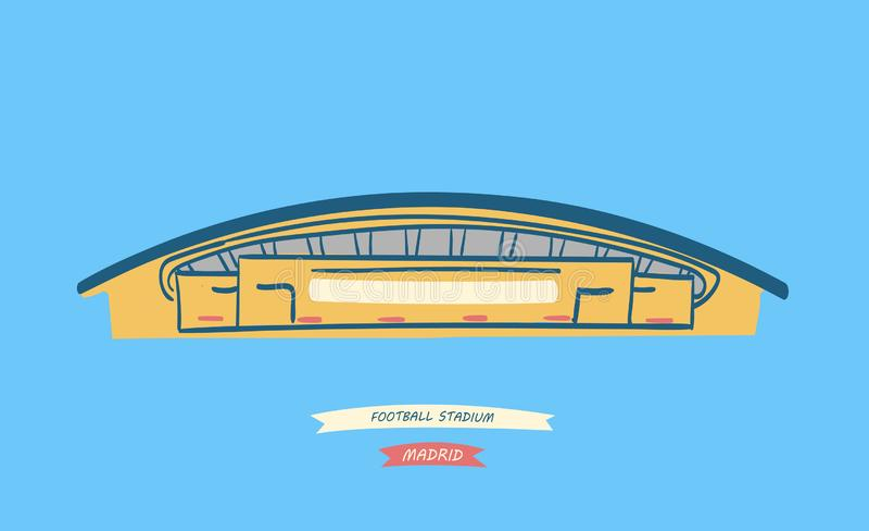 Spanish football stadium located in Madrid. Hand-drawn illustration of the new spanish football stadium located in Madrid royalty free illustration