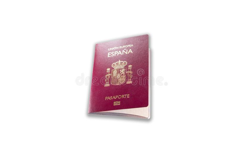 New spanish passport over white background with shadow royalty free stock photography
