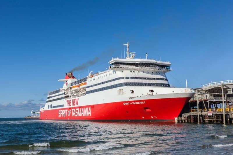 The New Spirit of Tasmania. Melbourne, Australia - Feb 21 2016: The New Spirit of Tasmania ship berthed at Port Melbourne stock photo