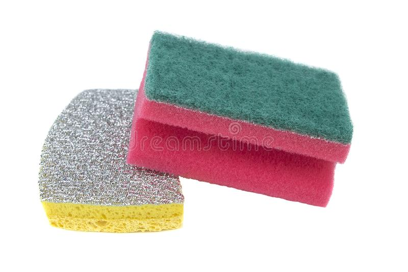 New sponges for washing of ware isolated on a white background stock photos