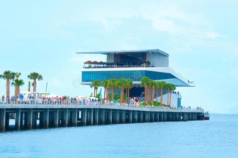New St. Pete Pier in Saint Petersburg, Florida, during it`s grand opening weekend in July 2020; closeup of the restaurants royalty free stock photography