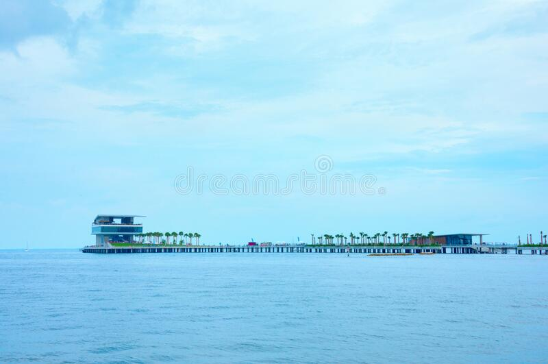 The new St. Pete Pier in Saint Petersburg, Florida, during it`s grand opening weekend in July 2020 stock images