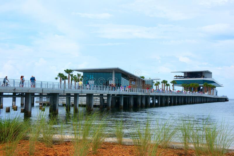 The new St. Pete Pier in Saint Petersburg, Florida, during it`s grand opening weekend in July 2020 stock photos