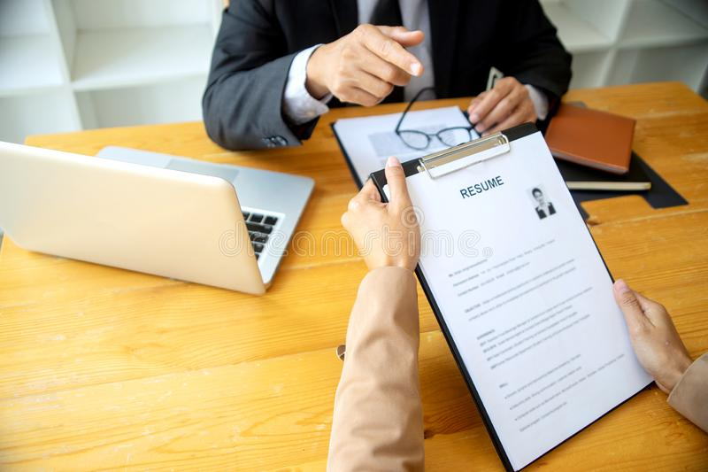 New staff candidate are in Job interview stock images