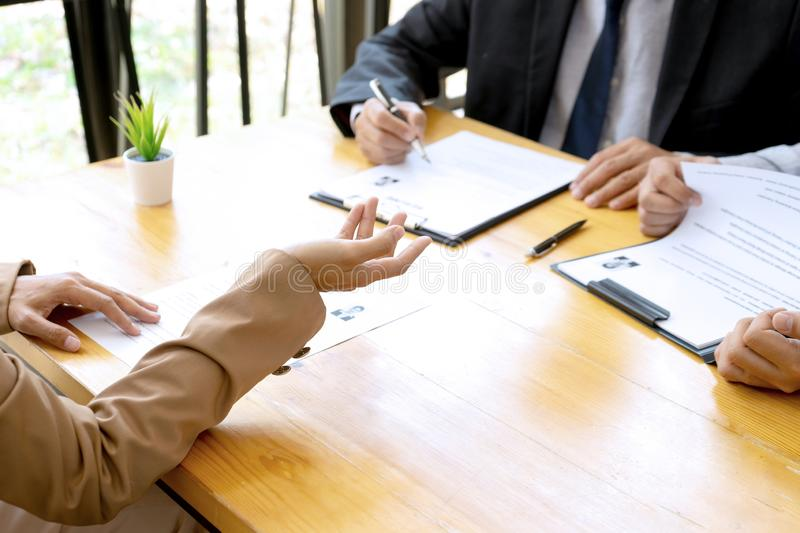 New staff candidate are in Job interview royalty free stock photo