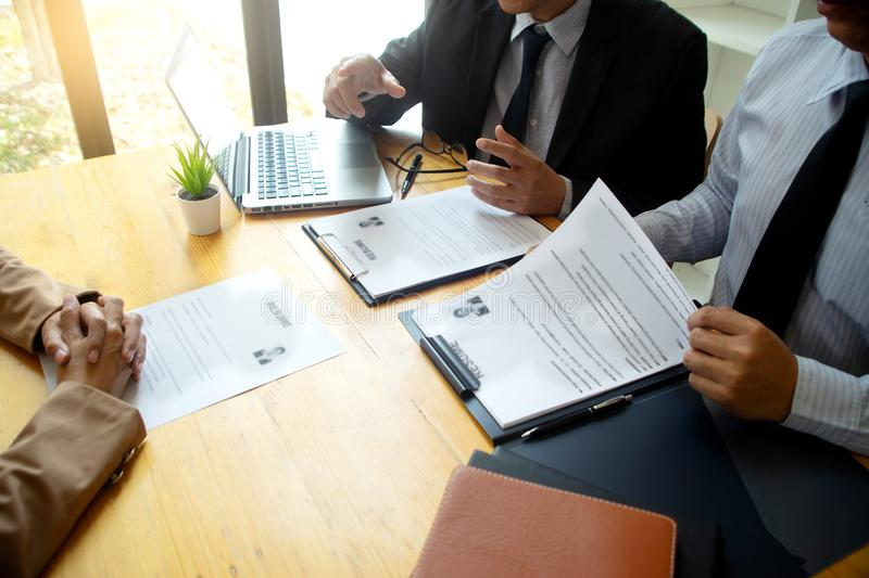 New staff candidate are in Job interview royalty free stock photography
