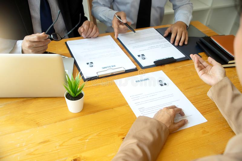 New staff candidate are in Job interview royalty free stock photos