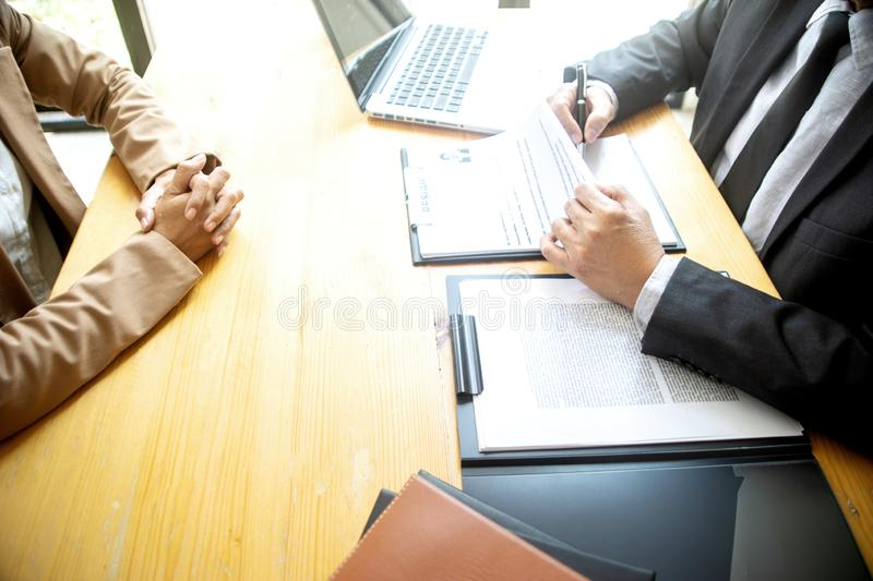 New staff candidate are in Job interview stock image