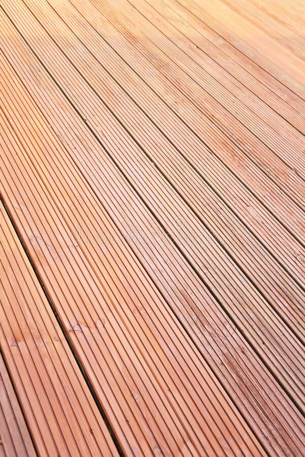 New stained and oiled decking stock photos