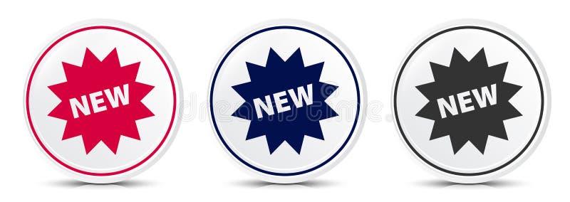 New star badge icon crystal flat round button set illustration design. Isolated on white background royalty free illustration
