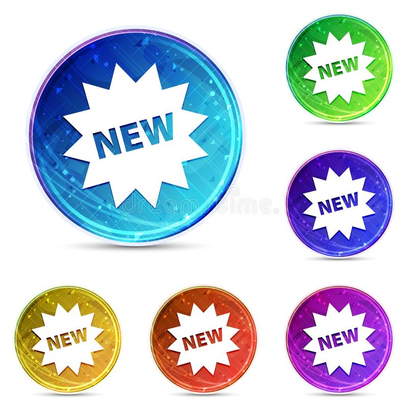 New star badge icon digital abstract round buttons set illustration. New star badge icon isolated on digital abstract round buttons set illustration royalty free illustration
