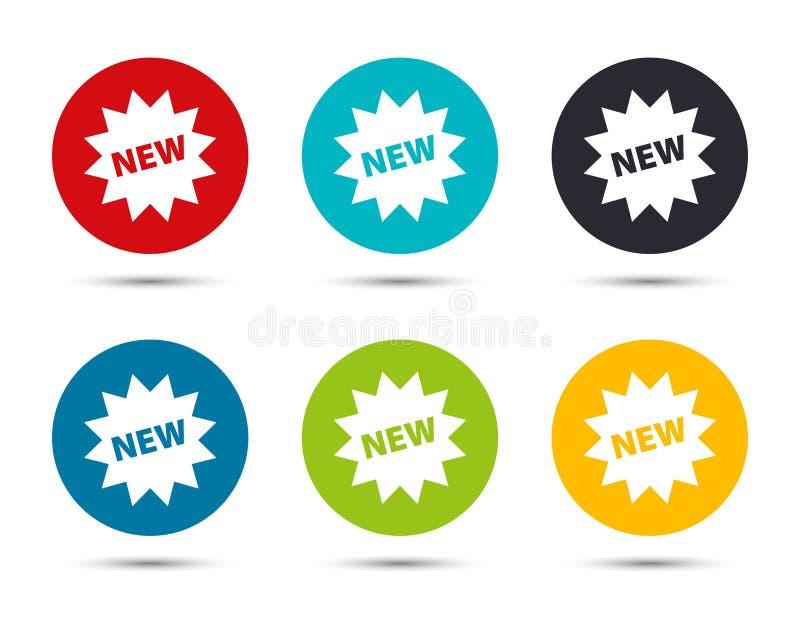 New star badge icon flat round button set illustration design. Isolated on white background vector illustration