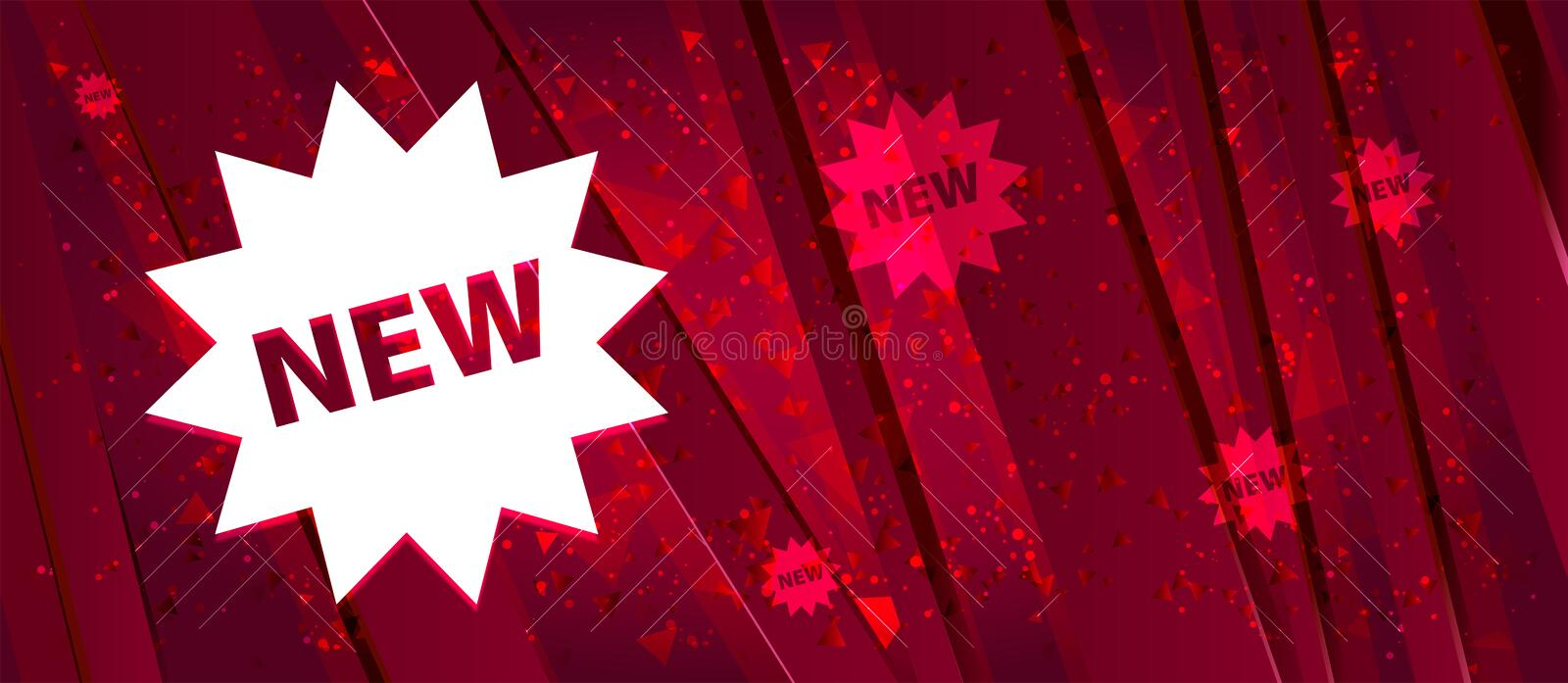 New star badge icon Abstract design bright red banner background. New star badge icon isolated on Abstract design bright red banner background stock illustration
