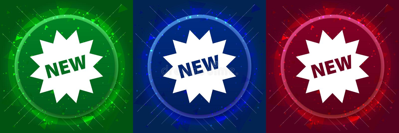 New star badge icon elegant modern design abstract buttons set illustration. New star badge icon isolated on elegant modern design abstract buttons set stock illustration