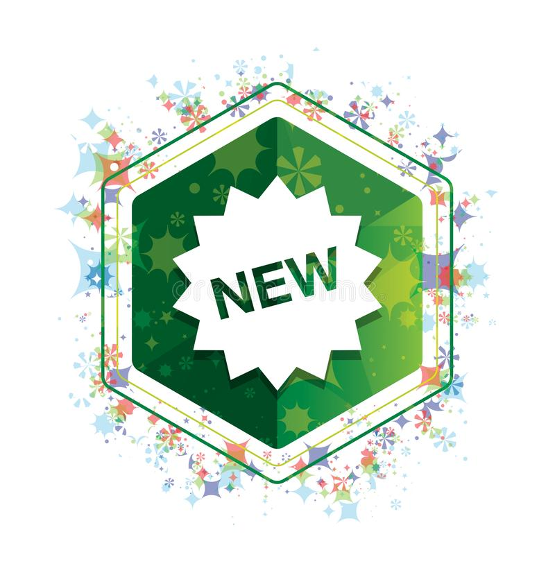 New star badge icon floral plants pattern green hexagon button. New star badge icon isolated on floral plants pattern green hexagon button stock illustration