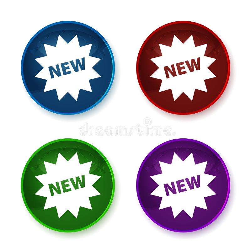 New star badge icon shiny round buttons set illustration. New star badge icon isolated on shiny round buttons set illustration royalty free illustration