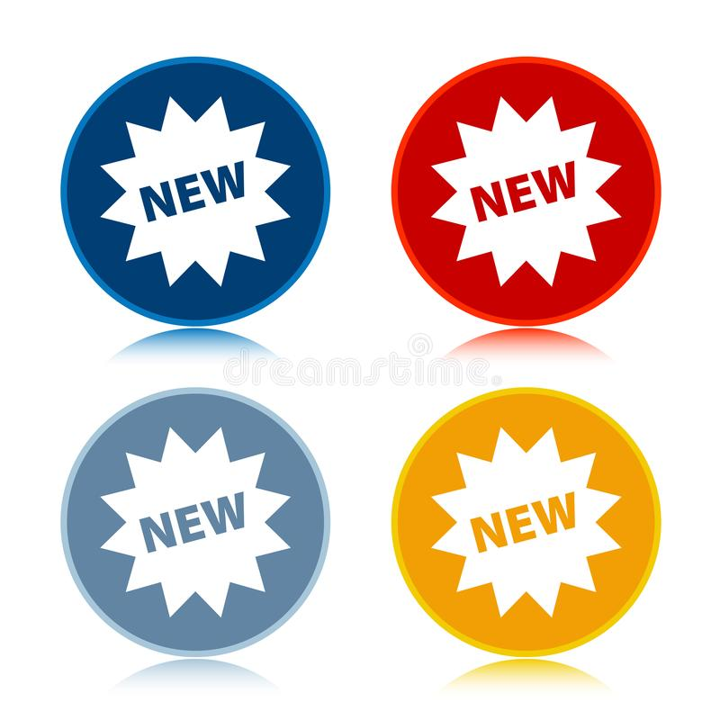 New star badge icon trendy flat round buttons set illustration design. New star badge icon isolated on trendy flat round buttons set reflected illustration royalty free illustration