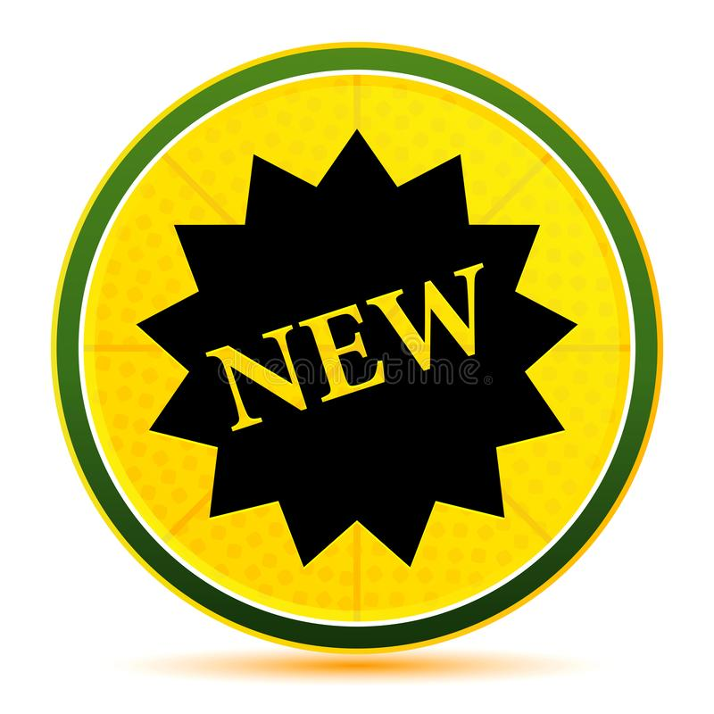New star badge icon lemon lime yellow round button illustration. New star badge icon isolated on lemon lime yellow round button illustration royalty free illustration