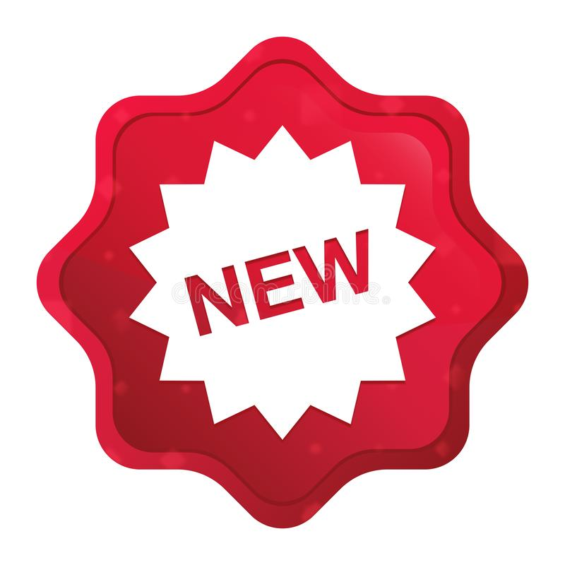 New star badge icon misty rose red starburst sticker button. New star badge icon isolated on misty rose red starburst sticker button stock illustration