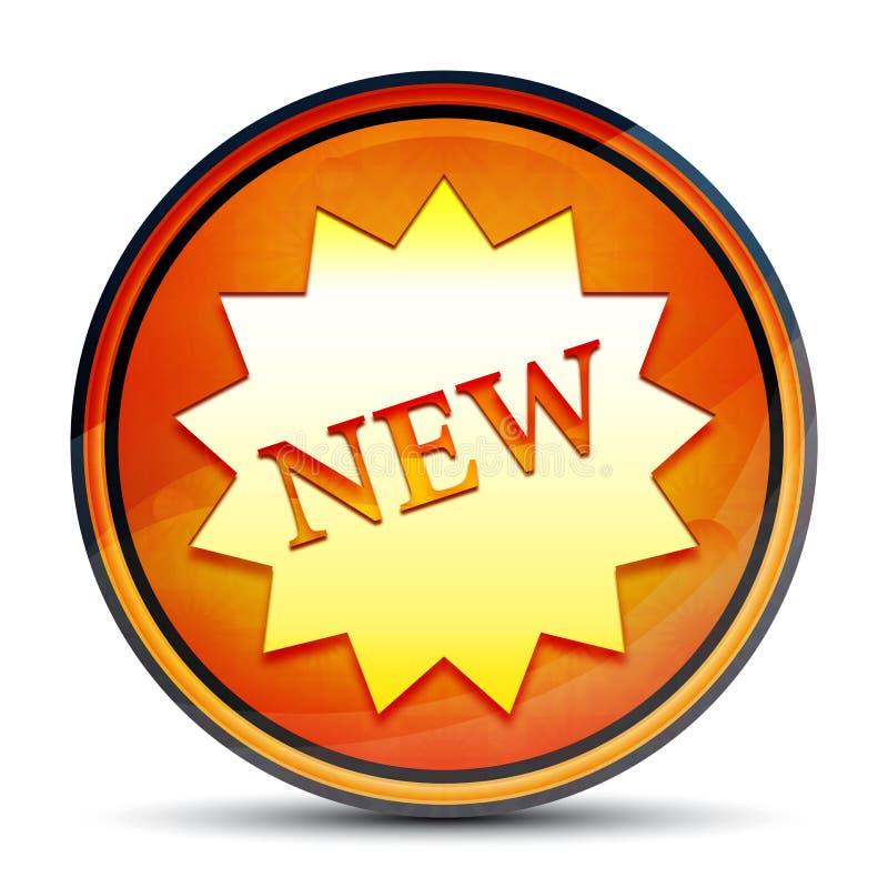 New star badge icon shiny bright orange round button illustration. New star badge icon isolated on shiny bright orange round button illustration royalty free illustration