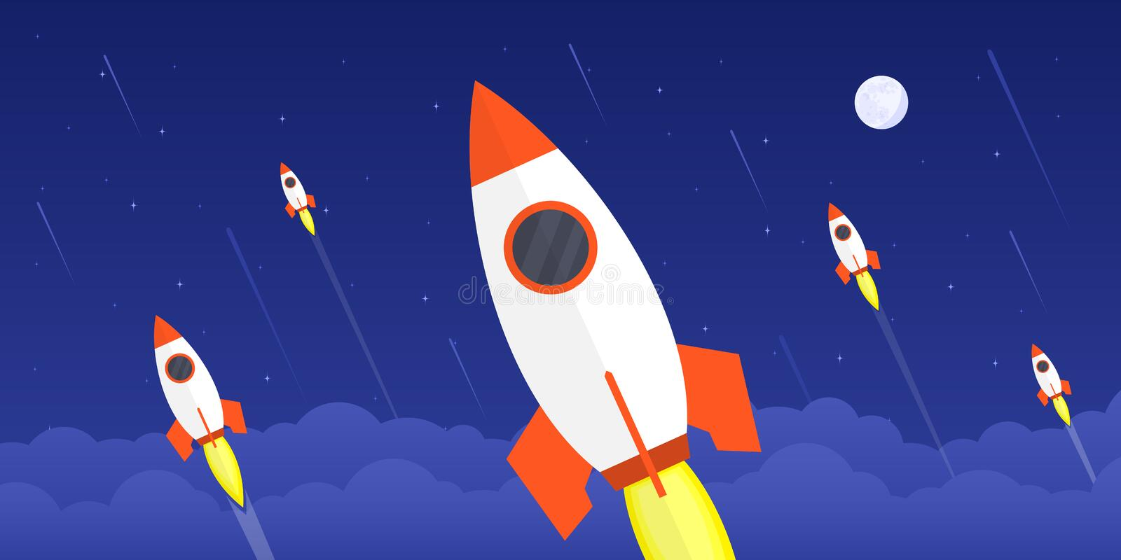 New startup concept. Picture of flying rockets with moon and stars on background, flat style illustration, new startup, new product or service launch concept stock illustration